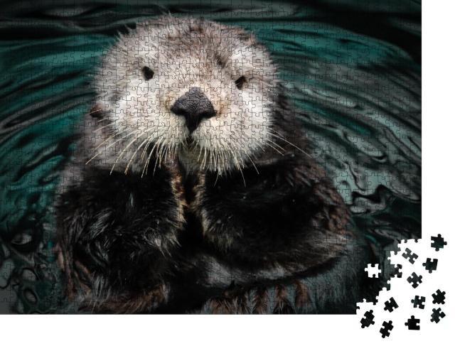 """Puzzle 1000 Teile """"Seeotter posiert im Wasser"""""""