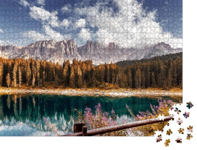 """Puzzle 1000 Teile """"Alpen: Hochland bei Sonnenuntergang, Lago di Carezza, Dolomiten"""""""