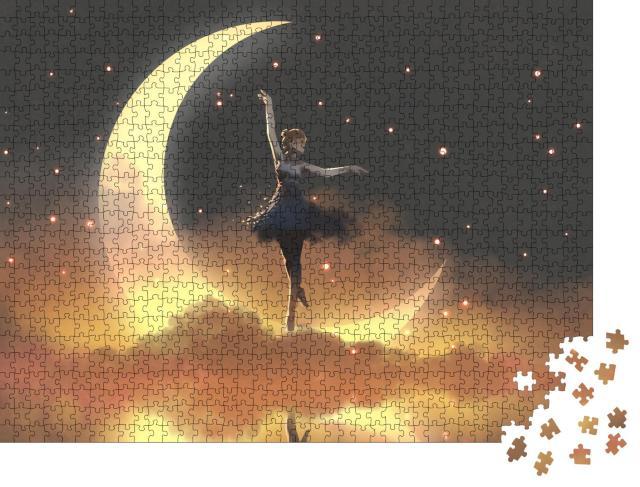 """Puzzle 1000 Teile """"Digitale Kunst: Glühwürmchen und Ballerina tanzen im Mondschein"""""""