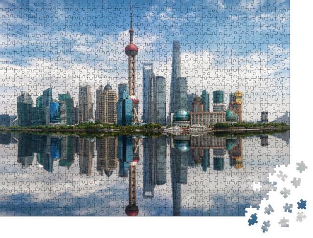 """Puzzle 1000 Teile """"Beeindruckende Skyline von Shanghai, China"""""""