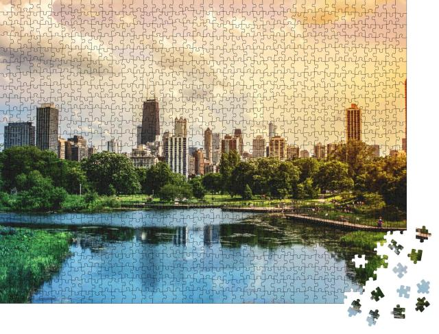 """Puzzle 1000 Teile """"Chicago: Blick vom Lincoln Park auf Skyline und Stadt"""""""