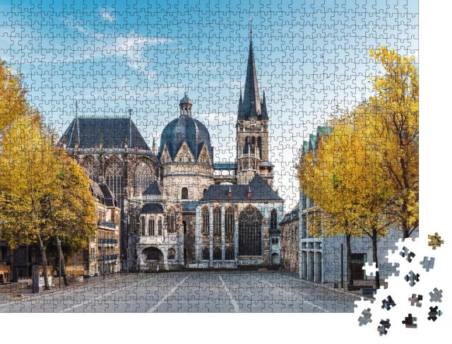 """Puzzle 1000 Teile """"Riesige gotische Kathedrale in Aachen im Herbst, Deutschland"""""""