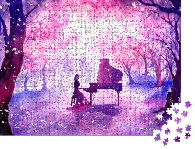 "Puzzle 1000 Teile ""Aquarellmalerei: Klavierspiel unter Kirschblüten"""