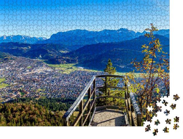 """Puzzle 1000 Teile """"Kramerberg und Felsen-Kanzel, Garmisch-Partenkirchen, Bayern"""""""