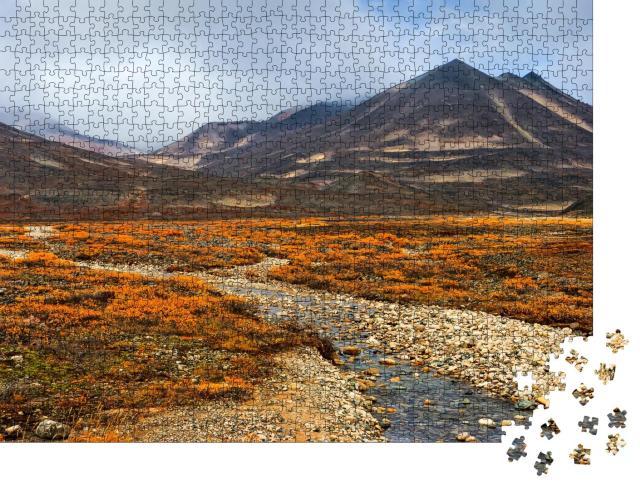 """Puzzle 1000 Teile """"Herbstlandschaft: arktische Natur, kleiner Fluss inmitten der Tundra, Sibirien"""""""