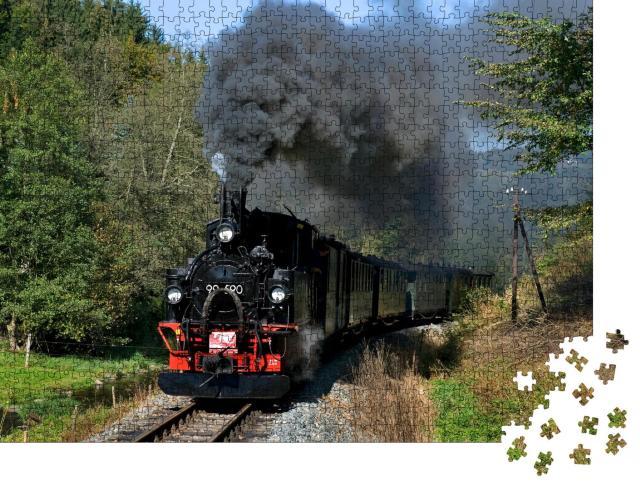 """Puzzle 1000 Teile """"Nostalgische Zugfahrt zwischen Steinbach und Jöhstadt, Sachsen, Deutschland"""""""