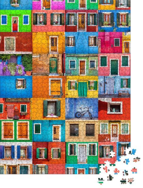 """Puzzle 1000 Teile """"Collage von bunten Häusern der Insel Burano, Italien"""""""