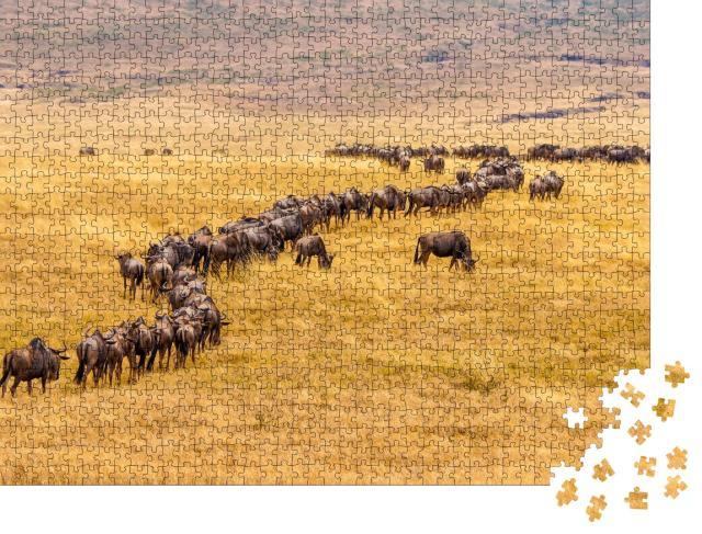 """Puzzle 1000 Teile """"Gnuwanderung in der afrikanischen Savanne"""""""
