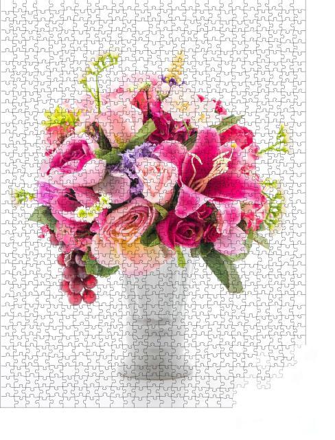 """Puzzle 1000 Teile """"Schöner Blumenstrauß, hübscher weißer Hintergrund"""""""