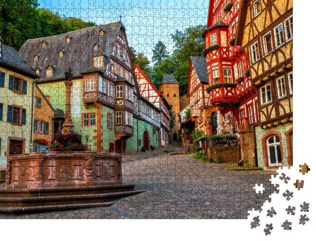 """Puzzle 1000 Teile """"Bunte Fachwerkhäuser von Milteberg, Bayern"""""""