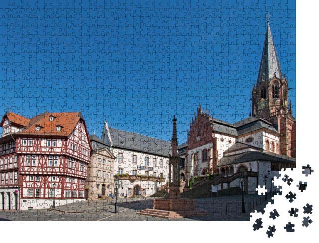 """Puzzle 1000 Teile """"Basilika in der Altstadt von Aschaffenburg, Deutschland"""""""