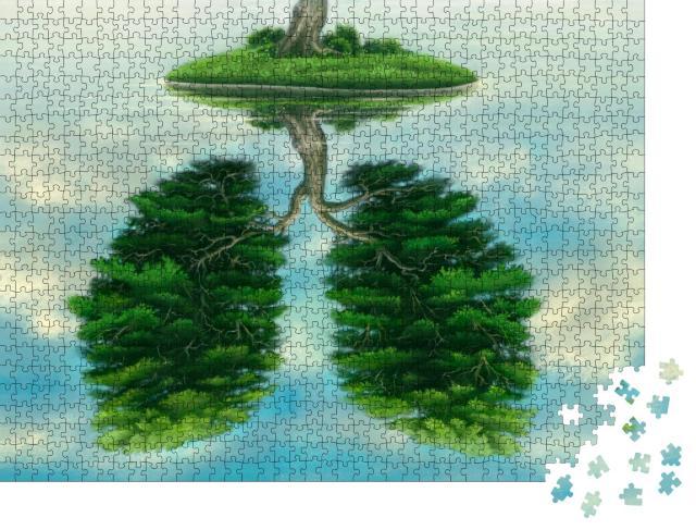 """Puzzle 1000 Teile """"Illustration: Wasserreflektion eines zweigeteilten Baumes"""""""