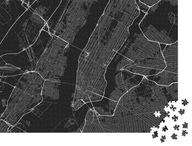 """Puzzle 1000 Teile """"Vektor-Karte von New York mit allen Straßen"""""""