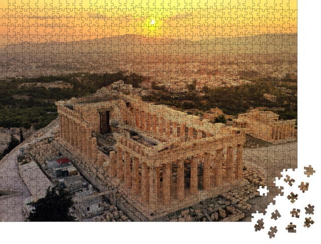 """Puzzle 1000 Teile """"Akropolis-Hügel und Parthenon bei Sonnenuntergang, Athen, Griechenland"""""""