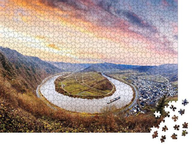 """Puzzle 1000 Teile """"Sonnenaufgang an der Moselschleife bei Bremm, Deutschland"""""""