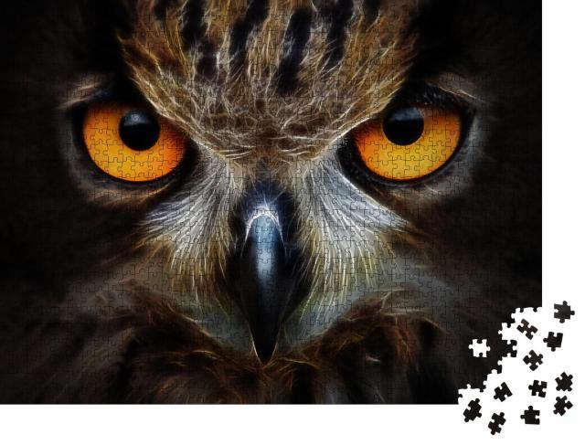 """Puzzle 1000 Teile """"Fraktale Hintergrund: Eule, Porträt, Tier"""""""