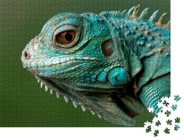 """Puzzle 1000 Teile """"Blauer Leguan: Nahaufnahme"""""""