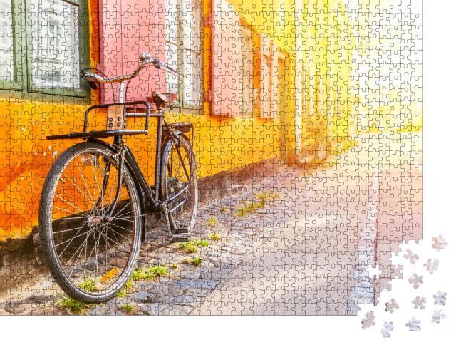 """Puzzle 1000 Teile """"Altes gelbes Haus des Stadtteils Nyboder, Kopenhagen, Dänemark"""""""