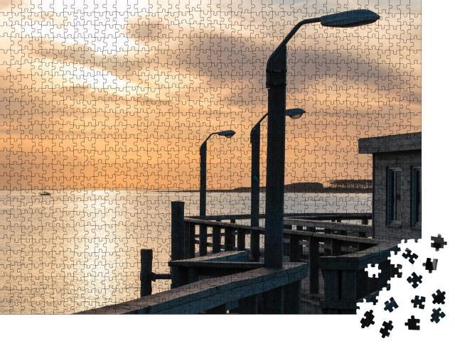 """Puzzle 1000 Teile """"Sonnenuntergang am Strand: Punta del Este in Uruguay"""""""