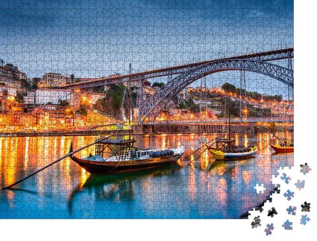 "Puzzle 1000 Teile ""Altstadt-Silhouette von Porto am Fluss Douro, Portugal"""