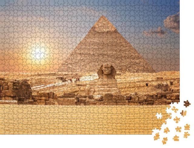 """Puzzle 1000 Teile """"Blick auf Sphinx und Pyramide, Ägypten"""""""