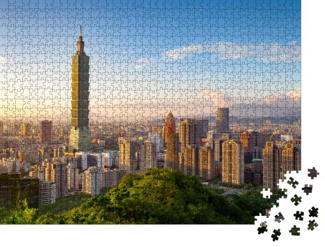 """Puzzle 1000 Teile """"Stadt Taipeh bei Sonnenuntergang, Taiwan"""""""