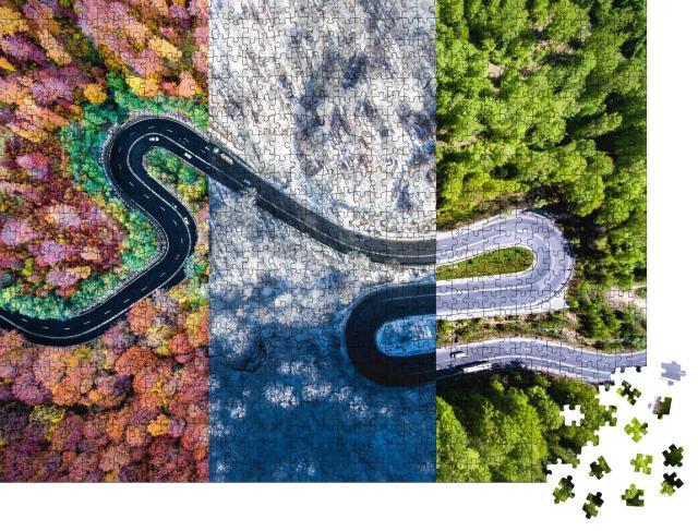 """Puzzle 1000 Teile """"Kurvenreiche Straße im Wald, Herbst-, Sommer- und Winterzeit-Collage, Luftaufnahme"""""""