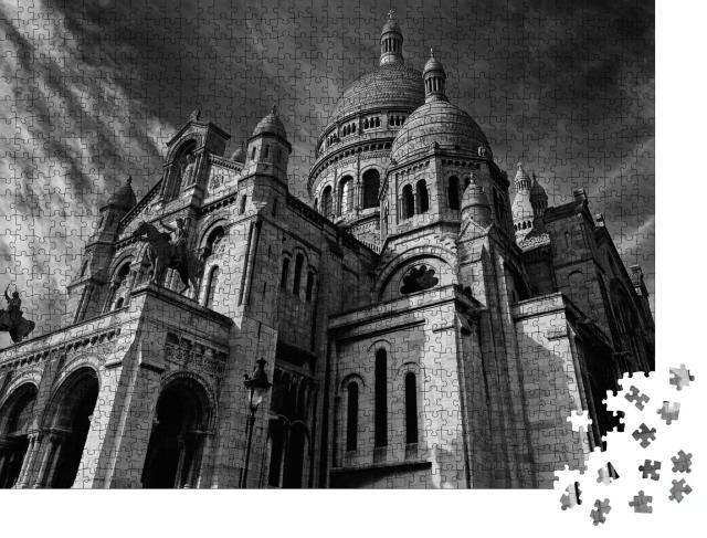 """Puzzle 1000 Teile """"Basilika Sacre Coeur Montmartre, monochromes Bild, Paris"""""""