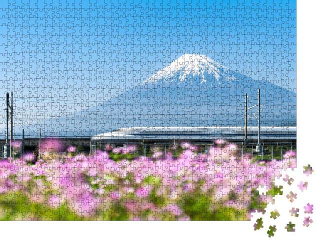 "Puzzle 1000 Teile ""Shinkansen Hochgeschwindigkeitszug am Fuji, Japan"""