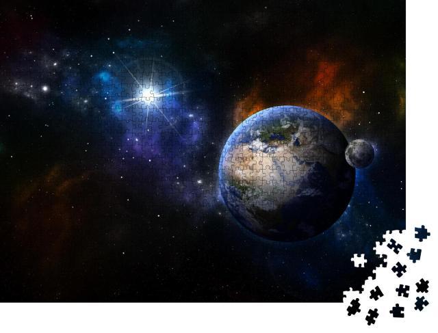 """Puzzle 1000 Teile """"Digitale Kunst: Erde und Mond im Sternennebel"""""""
