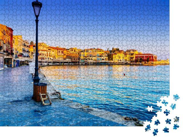"""Puzzle 1000 Teile """"Der Hafen von Chania bei Sonnenaufgang, Kreta"""""""
