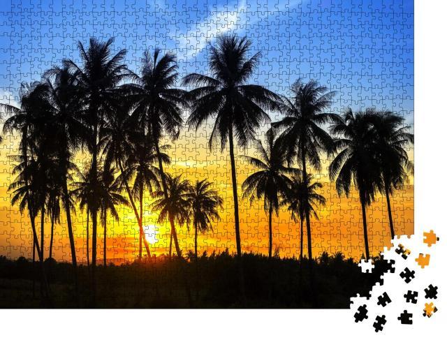 """Puzzle 1000 Teile """"Silhouetten von Kokosnusspalmen im bunten Sonnenuntergang"""""""