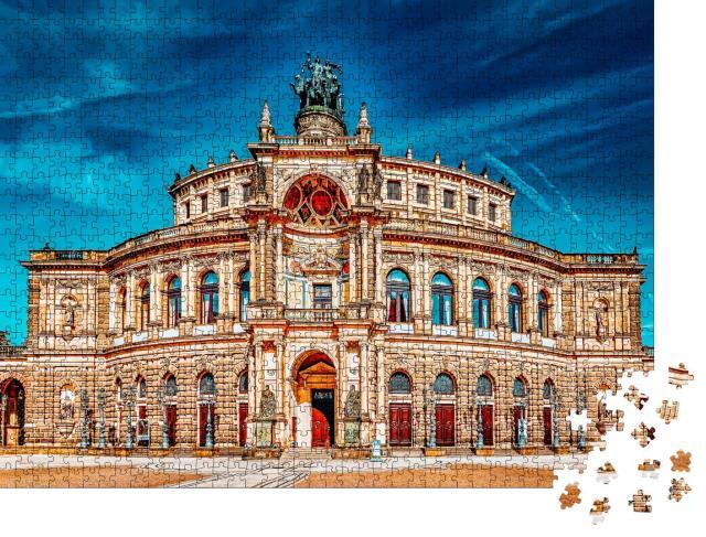 """Puzzle 1000 Teile """"Beeindruckende Semperoper, Dresden, Deutschland"""""""