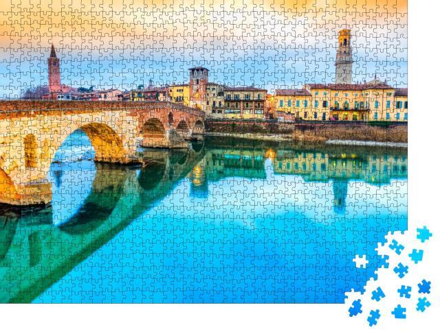 """Puzzle 1000 Teile """"Wunderschönes Verona mit Etsch und Ponte di Pietra, Italien"""""""