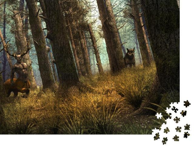 """Puzzle 1000 Teile """"Wolf und mystischer Zentaur in einem alten Wald"""""""