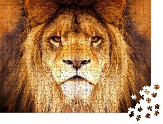 """Puzzle 1000 Teile """"Auge in Auge mit einem Löwen"""""""