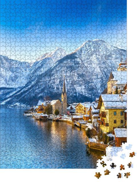 """Puzzle 1000 Teile """"Hallstadt an einem schönen kalten sonnigen Tag mit blauem Himmel, Österreich"""""""