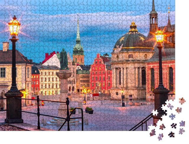 """Puzzle 1000 Teile """"Altstadt in Schwedens Hauptstadt Stockholm"""""""