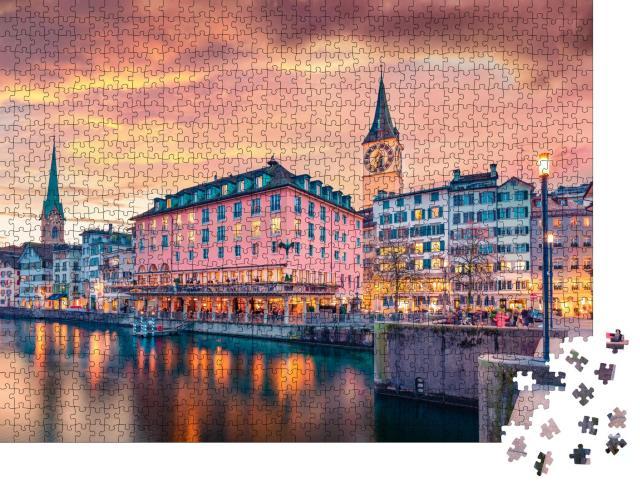 """Puzzle 1000 Teile """"Kirche Fraumünster in der Altstadt von Zürich, Schweiz"""""""