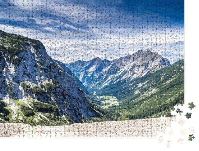 """Puzzle 1000 Teile """"Panoramablick auf das Karwendeltal, Österreichische Alpen"""""""