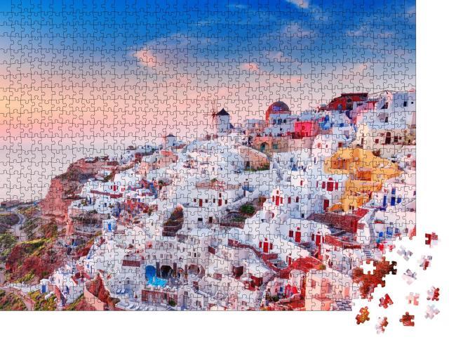 """Puzzle 1000 Teile """"Blick auf Oia mit griechischen Häusern, Santorin, Griechenland"""""""