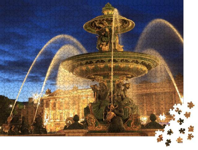 """Puzzle 1000 Teile """"Springbrunnen auf dem Place de la Concorde am Abend, Paris, Frankreich"""""""