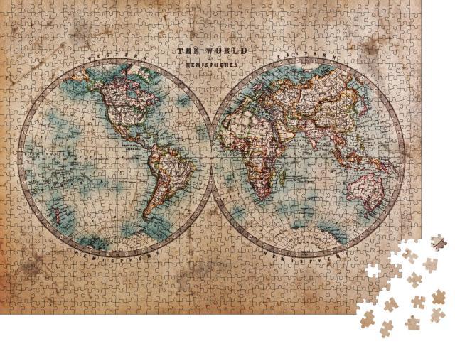 """Puzzle 1000 Teile """"Handkolorierte Weltkarte aus der Mitte des 19. Jahrhunderts"""""""