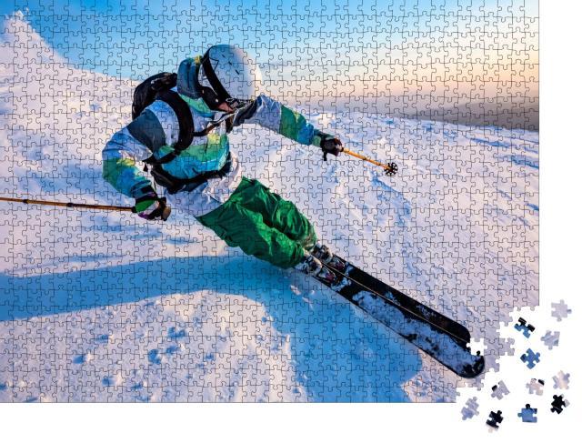 """Puzzle 1000 Teile """"Talabfahrt beim Skifahren"""""""