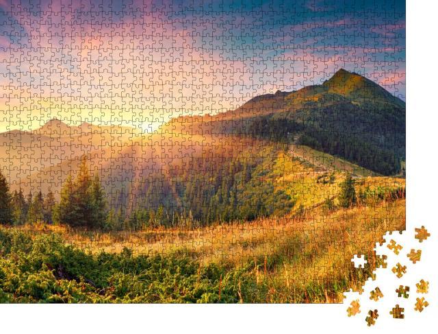 """Puzzle 1000 Teile """"Atemberaubender Sonnenaufgang in den Karpaten"""""""