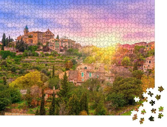 """Puzzle 1000 Teile """"Valdemossa-Tal auf Mallorca bei Sonnenaufgang, Spanien"""""""