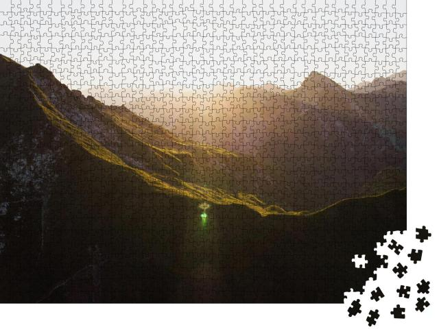 """Puzzle 1000 Teile """"Alpenpanorama in goldenem Sonnenlicht, Österreich"""""""