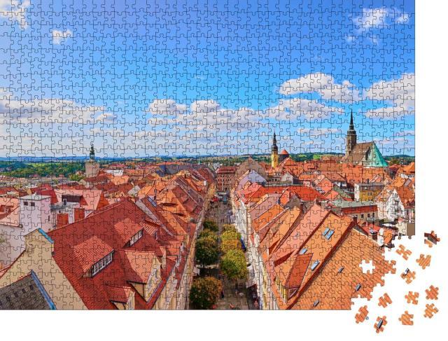 """Puzzle 1000 Teile """"Über den Dächern von Bautzen, Deutschlands"""""""
