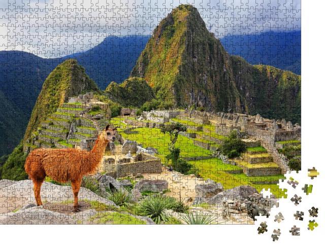 """Puzzle 1000 Teile """"Lama am Machu Picchu, Peru"""""""