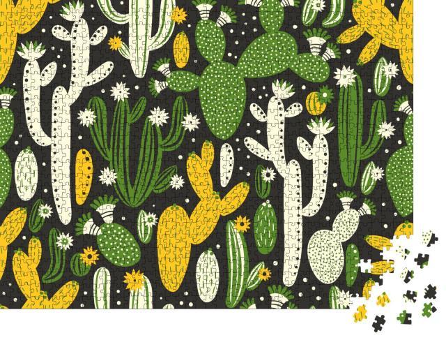 """Puzzle 1000 Teile """"Illustration: Grüne, weiße und gelbe Kakteen"""""""